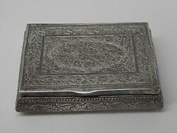 Exquisite Vintage Indian Silver Box. 63 Grams. Snuff/trinket/pill. 7cm By 5cm.
