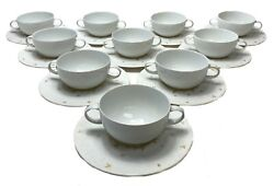 10 Rosenthal Magic Flute Papageno Gilt Porcelain Bouillon Cup And Saucers