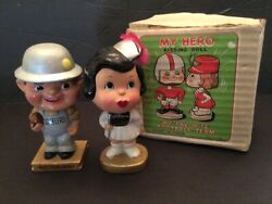 Pittsburgh Steelers Vintage Kissing Bobbleheads With Original Box