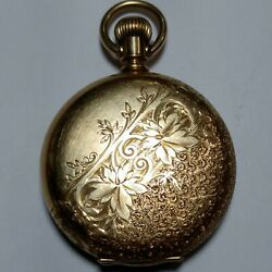 Elgin Pocket Watch 1888 6s 11j Movement 14k Solid Gold Case For Parts Or Repair