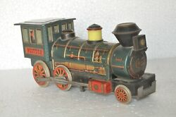 Vintage Battery Mt Trademark Litho Train Engine Tin Toy, Collectible