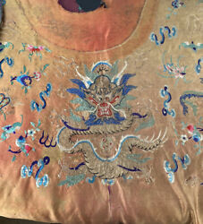 Antique Qing Dynasty Dragon Richly Embroidered Silk Robe Part