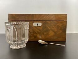 Victorian C19th Mahogany And Pearl Inlaid Twin Tea Caddy With Glass Bowl
