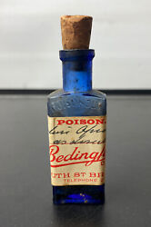 Early Victorian Apothecary 3.5 Cobalt Blue Poison Bottle