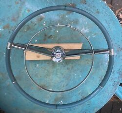 1957 1958 Cadillac Blue Steering Wheel W/horn Ring And Center Crest/medallion