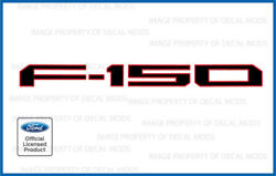 2021 Ford F150 Tailgate Inserts Decals Letters Stickers - Black Outline Red Fbro