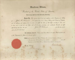 Woodrow Wilson - Civil Appointment Signed 02/16/1917 With Co-signers