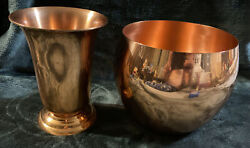 Coppercraft Guild 7andrdquo Tall Solid Copper Footed Vase Urn And Large 6andrdquo Bowl Guc