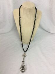 Gorgeous King Queen Baby Sterling Silver 925 Onyx Heart Crown Rosary Necklace