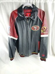 Nfl San Francisco 49ers Leather Jacket G-iii Embroidered L