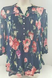 New Cocomo Navy And Red Blouse Pin Tucked Mesh Overlay 3/4 Sleeves  Plus Sizes