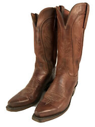 Lucchese Womens Size 7 B Brown Leather Boots Made In Usa Classic Western Cowboy