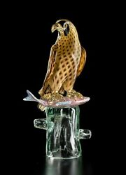 Hawk With Fish On Base In Murano Glass Original Made Andigraven Italy Made By Hand