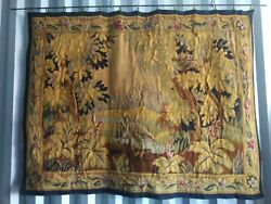 19th Century Antique Aubusson Tapestry 50 X 64 Great Coloration Birds