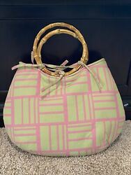 Miss Priss Purse Purses With Personality Green And Pink Cloth With Bamboo Handle