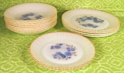 Set 14 Vintage Fire King Termocrisa Milk Glass Plates And Bowls Floral Milk Glass
