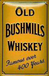 Old Bushmills Whiskey Tin Sign Shield 3d Embossed Arched 7 7/8x11 13/16in