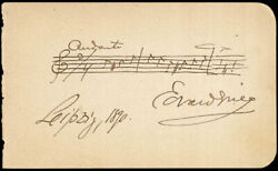 Edvard Grieg - Autograph Musical Quotation Signed 1890 With Co-signers