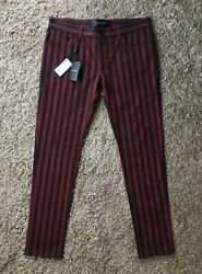 Mens Dolce And Gabbana Black Red Striped Slim Fit 14 Stretch Jeans - Size 52