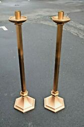 Pair Of Solid Bronze Altar Height Candlesticks, 44 Ht. Cu245 Chalice Co