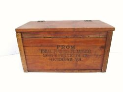 Amazing Antique Ideal Fishing Float Co Advertising Wood Crate Box Chest