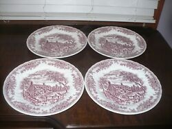 Churchill China The Brook Pink Cottage Scene Dinner Plate 10 Set Of 4