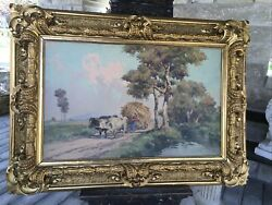 Antique Framed Oil Painting V Giannaccim Oxen Signed Great Frame 52andrdquo Campagna