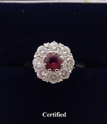 Fine Vintage Ruby And Diamond Cluster Ring 750 18ct Gold - Size N 1/2 - 3.7g