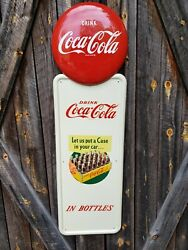 Rare Coca-cola Pilaster Sign. Painted Metal With Decals 54inx16in