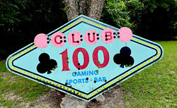 Vintage Club 100 Sports Bar Casino Sign Large 9ft Neat