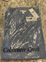 Coldwater Creek 1x Freshwater Blue Easy Linen Shirt Jacket New In Package