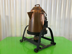 Large Copper Cowboy Coffee Pot Water Kettle With Cast Iron Warmer Stand Santiq