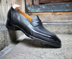 New Handmade Black Pebbled Leather Round Toe Penny Loafer Shoes For Men's