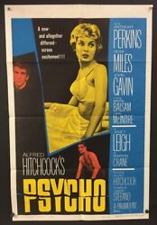 Psycho Original Movie Poster - Perkins Miles Hitchcock 1960 Hollywood Posters