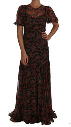 Dolce Andamp Gabbana Dress Womenand039s Black Floral Roses A-line Gown It42/us6/l
