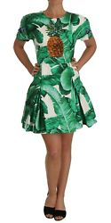 Dolce And Gabbana Dress Womenand039s A-line Banana Leaf Pineapple Crystal It38/us2/s