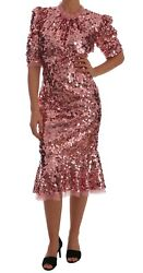 Dolce Andamp Gabbana Dress Womenand039s Pink Sequined Sheath Knee Gown It48/us12/xxxl