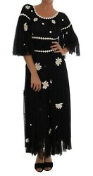 Dolce And Gabbana Dress Womenand039s Black Silk Daisy Embroidered It40/us4/m
