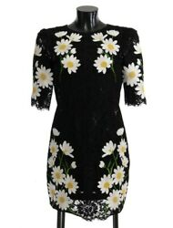 Dolce And Gabbana Dress Womenand039s Black Floral Lace Chamomile Sicily It36/us0/xs