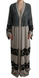 Dolce And Gabbana Dress Womenand039s Gray Floral Applique Lace Kaftan It42/us6/l