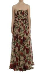 Dolce And Gabbana Dress Womenand039s Pink Red Roses Silk Long Shift It46/us10/xxl