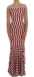 Dolce And Gabbana Dress Womenand039s Red White Silk Stretch It40/us4/m