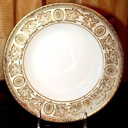 16 Antique Royal Doulton Soup Bowls, Gold Encrusted On Ivory
