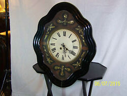 Antique C1870and039s French Clock Napoleon Iii Ebonized And Mother Of Pearl Wall Clock