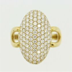 Diamond Pave Navette-style Ring 2.13ctw 18k Yellow Gold
