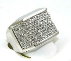 Natural Round Diamond Cluster Square Wide Menand039s Ring 14k White Gold 2.16ct