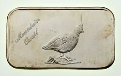 1973 The Justice Mint 1 Oz. Silver Bar Mountain Quail 701 Of 5000 Jm-18