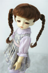 1/6 Lovely Twin Briaided Ponytail Bjd Wig 6-7 Mohair School Girl Doll Wigs