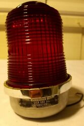 Vntg Federal Sign And Signal Corp Model Br-2s Chrome/red Glass Light 12v Tested