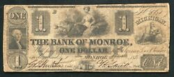 1836 1 The Bank Of Monroe Michigan Obsolete Banknote Morman Owned Rare